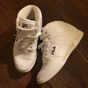 Vintage Fila Shoes White Sneakers 90s High Tops